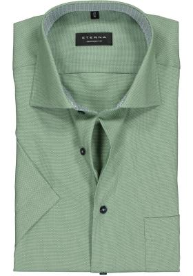 Eterna Comfort Fit overhemd, korte mouw, groen structuur (contrast)