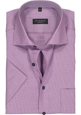 Eterna Comfort Fit overhemd, korte mouw, paars structuur (contrast)