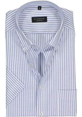 Eterna Comfort Fit overhemd, korte mouw, lichtblauw met wit gestreept