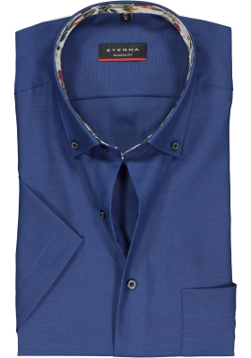 Eterna Modern Fit overhemd, korte mouw, donkerblauw (contrast)