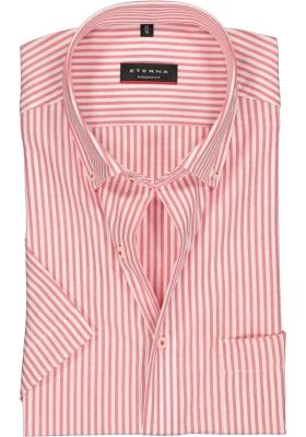 Eterna Modern Fit overhemd, korte mouw, rood met wit gestreept