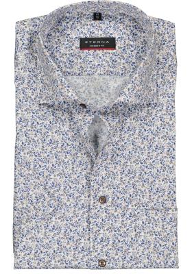 Eterna Modern Fit overhemd, korte mouw, beige, blauw en wit dessin