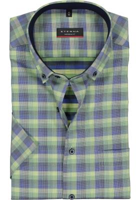 Eterna Modern Fit overhemd, korte mouw, groen geruit (contrast)