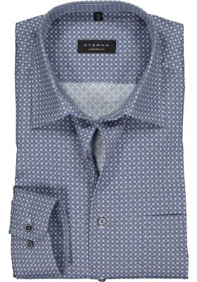 Eterna Comfort Fit overhemd, blauw met grijs en wit dessin