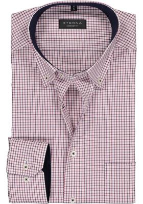 Eterna Comfort Fit overhemd, rood met wit en blauw geruit (contrast)
