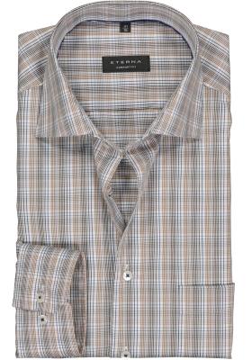 Eterna Comfort Fit overhemd, lichtbruin met wit en blauw geruit