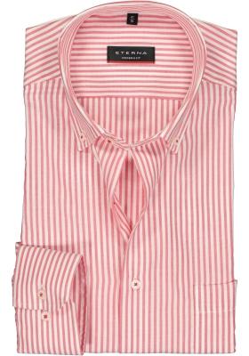 Eterna Modern Fit overhemd, rood met wit gestreept