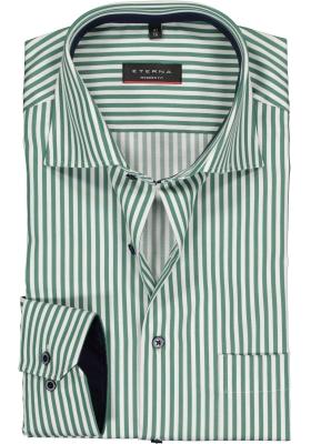 Eterna Modern Fit overhemd, groen met wit gestreept (contrast)