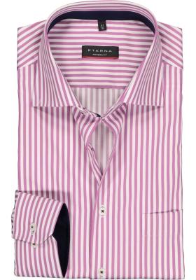 Eterna Modern Fit overhemd, donkerroze met wit gestreept (contrast)