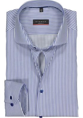 Eterna Modern Fit overhemd, blauw met wit gestreept