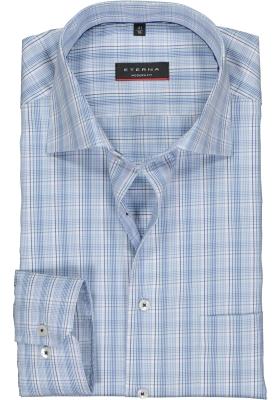 Eterna Modern Fit overhemd, lichtblauw geruit