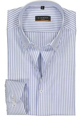 Eterna Slim Fit overhemd, lichtblauw met wit gestreept