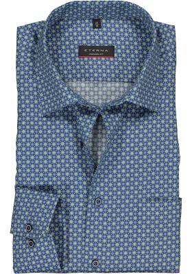 Eterna Modern Fit overhemd, mouwlengte 7, groen met blauw en wit dessin