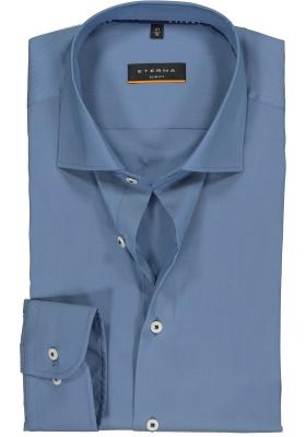 Eterna Slim Fit overhemd, middenblauw superstretch twill