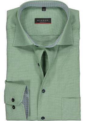Eterna Modern Fit overhemd, mouwlengte 7, groen structuur (contrast)