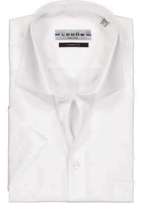 Ledub modern fit overhemd, korte mouw, wit twill