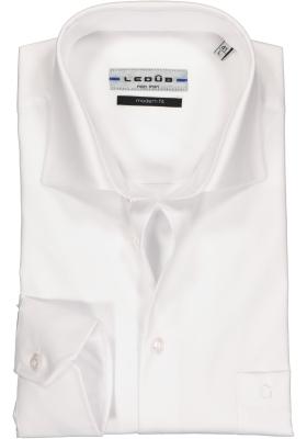 Ledub modern fit overhemd, mouwlengte 7, wit twill