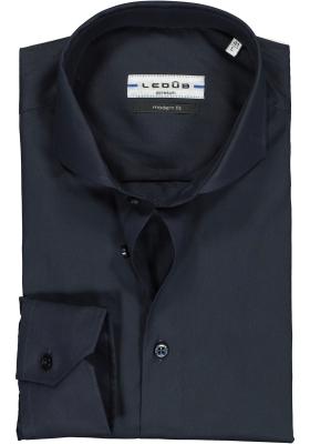 Ledub modern fit overhemd, donkerblauw stretch
