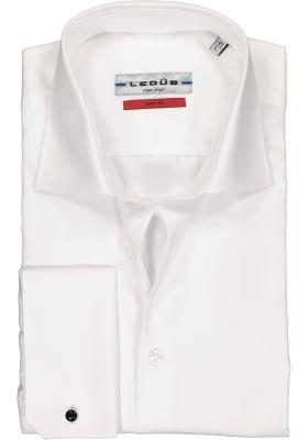 Ledub slim fit overhemd, dubbele manchet, wit twill