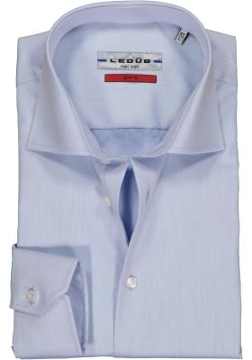 Ledub slim fit overhemd, mouwlengte 7, lichtblauw twill