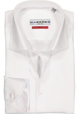 Ledub slim fit overhemd, mouwlengte 7, wit twill