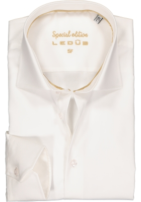 Ledub slim fit overhemd, mouwlengte 7, beige twill