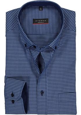 ETERNA modern fit overhemd, poplin heren overhemd, blauw geruit (contrast)