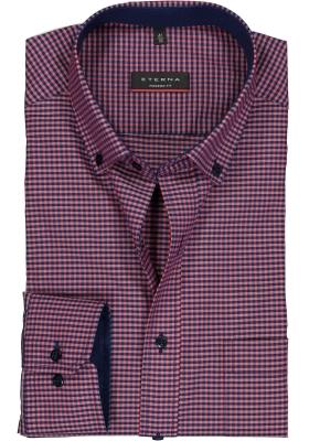 Eterna modern fit overhemd, poplin heren overhemd, rood met blauw geruit (contrast)