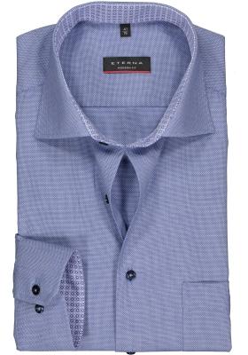 ETERNA modern fit overhemd, structuur heren overhemd, blauw (blauw dessin contrast)