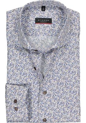 Eterna Modern Fit overhemd, rood met blauw en wit dessin