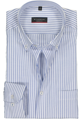 ETERNA modern fit overhemd, Oxford heren overhemd, lichtblauw met wit gestreept