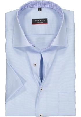 Eterna Modern Fit overhemd, korte mouw, lichtblauw structuur (contrast)