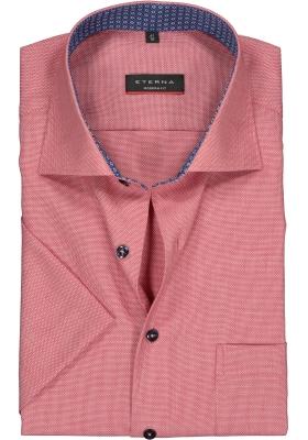 Eterna Modern Fit overhemd, korte mouw, rood structuur (contrast)