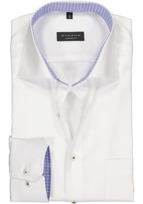 ETERNA comfort fit overhemd, structuur heren overhemd, wit (blauw dessin contrast)