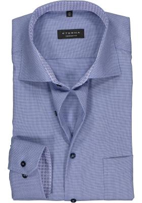 ETERNA comfort fit overhemd, structuur heren overhemd, blauw (blauw dessin contrast)