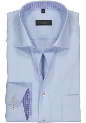 ETERNA comfort fit overhemd, structuur heren overhemd, lichtblauw (blauw dessin contrast)