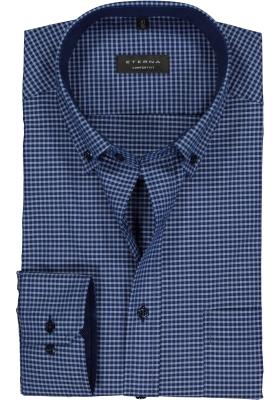 ETERNA comfort fit overhemd, poplin heren overhemd, blauw geruit (contrast)