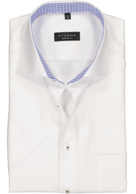 Eterna Comfort Fit overhemd, korte mouw, wit structuur (contrast)