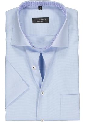 Eterna Comfort Fit overhemd, korte mouw, lichtblauw structuur (contrast)