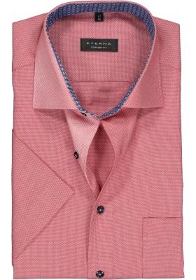 Eterna Comfort Fit overhemd, korte mouw, rood structuur (contrast)