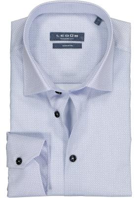 Ledub Modern Fit overhemd, middenblauw dessin
