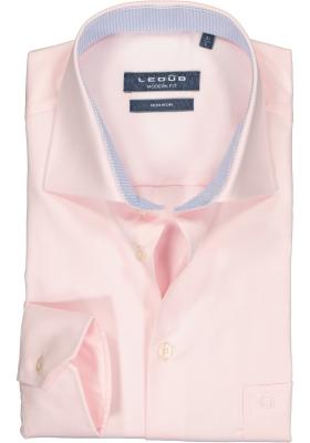 Ledub Modern Fit overhemd, lichtroze twill (contrast)