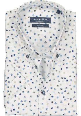 Ledub Modern Fit overhemd, korte mouw, wit dessin