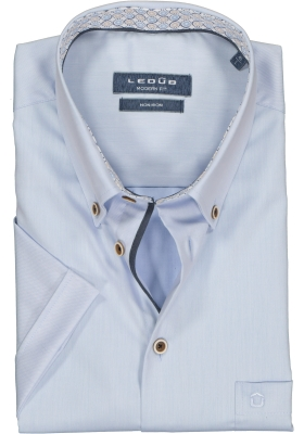 Ledub Modern Fit overhemd, korte mouw, lichtblauw twill (contrast)