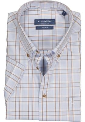 Ledub Modern Fit overhemd, korte mouw, lichtblauw met beige geruit