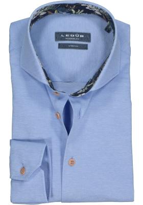 Ledub Modern Fit overhemd, middenblauw pique tricot (contrast)