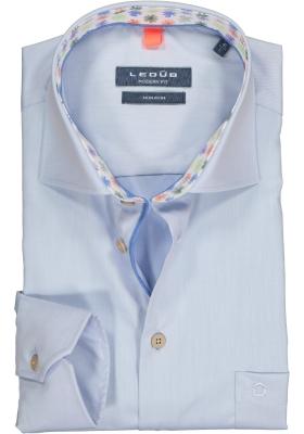 Ledub Modern Fit overhemd, lichtblauw geruit twill (contrast)