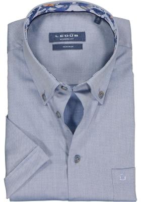 Ledub Modern Fit overhemd, korte mouw, middenblauw mini dessin (contrast)