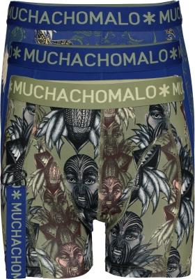 Muchachomalo boxershorts (3-pack), heren boxers normale lengte, King Maori print met blauw