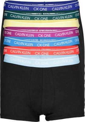 Calvin Klein Trunks (7-pack), zwart met gekleurde tailleband
